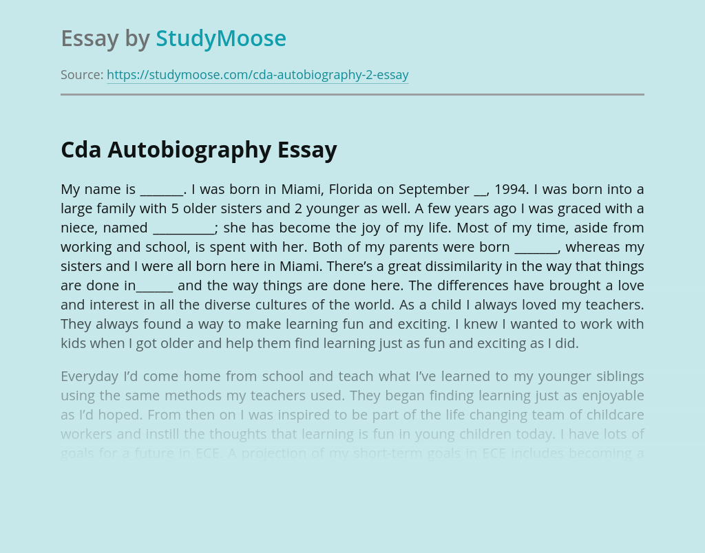 Autobiography sample essay