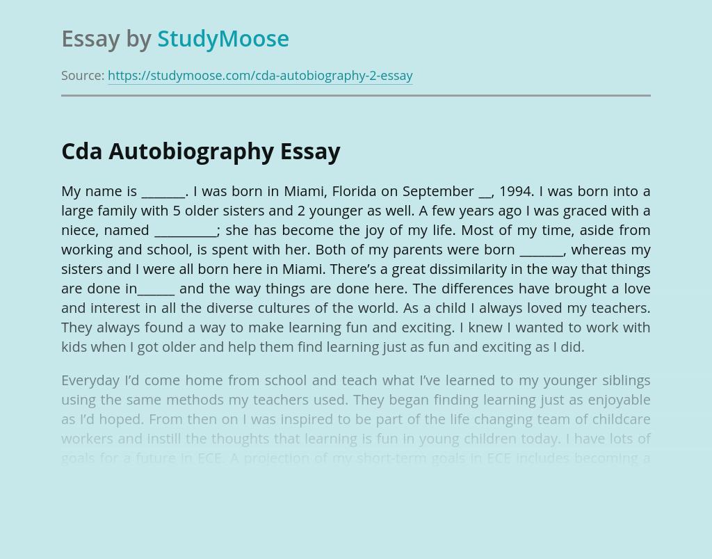 Cda Autobiography
