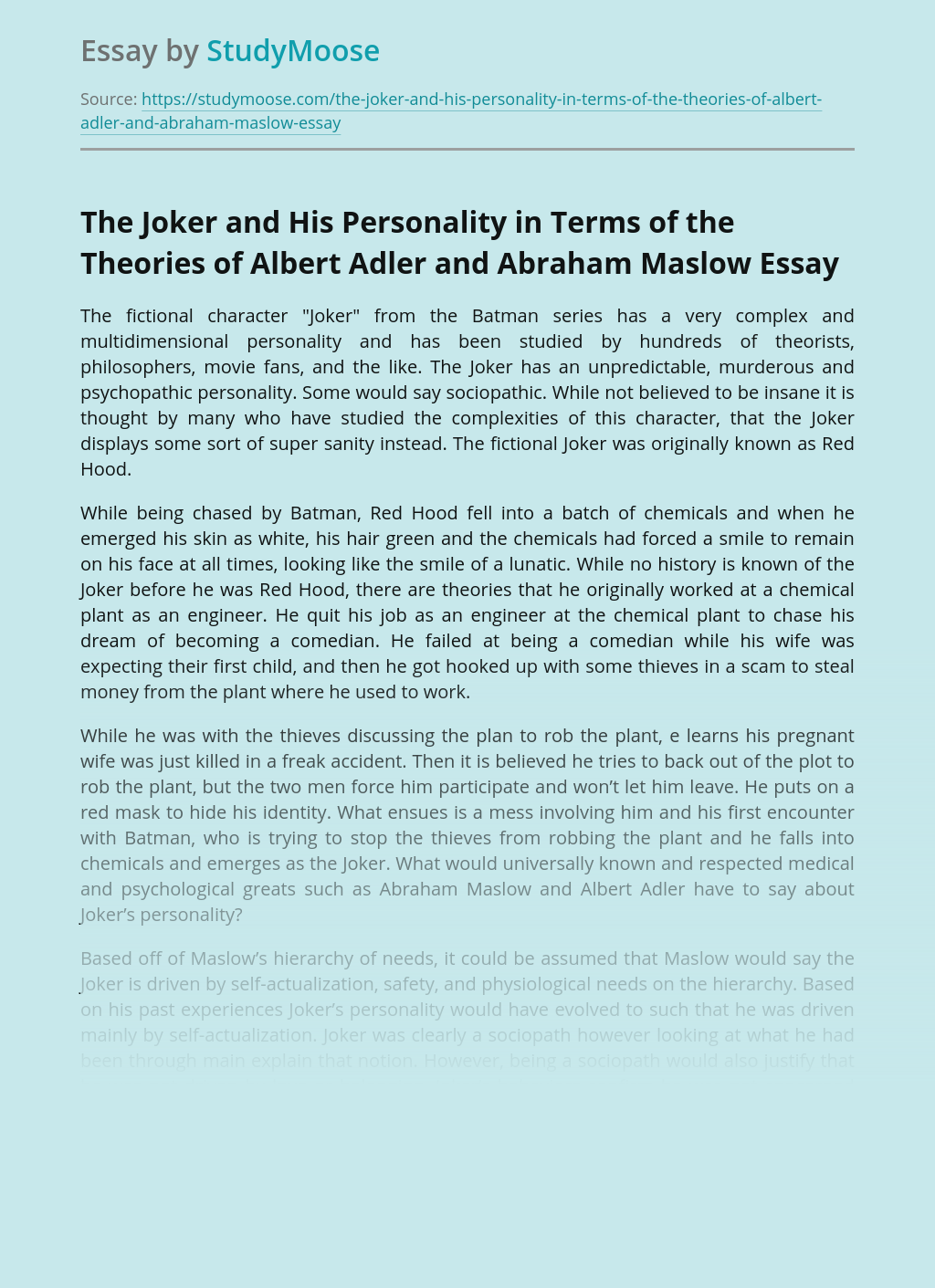 The Joker and His Personality in Terms of the Theories of Albert Adler and Abraham Maslow