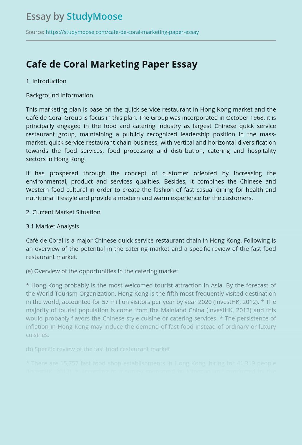 Cafe de Coral Marketing Paper