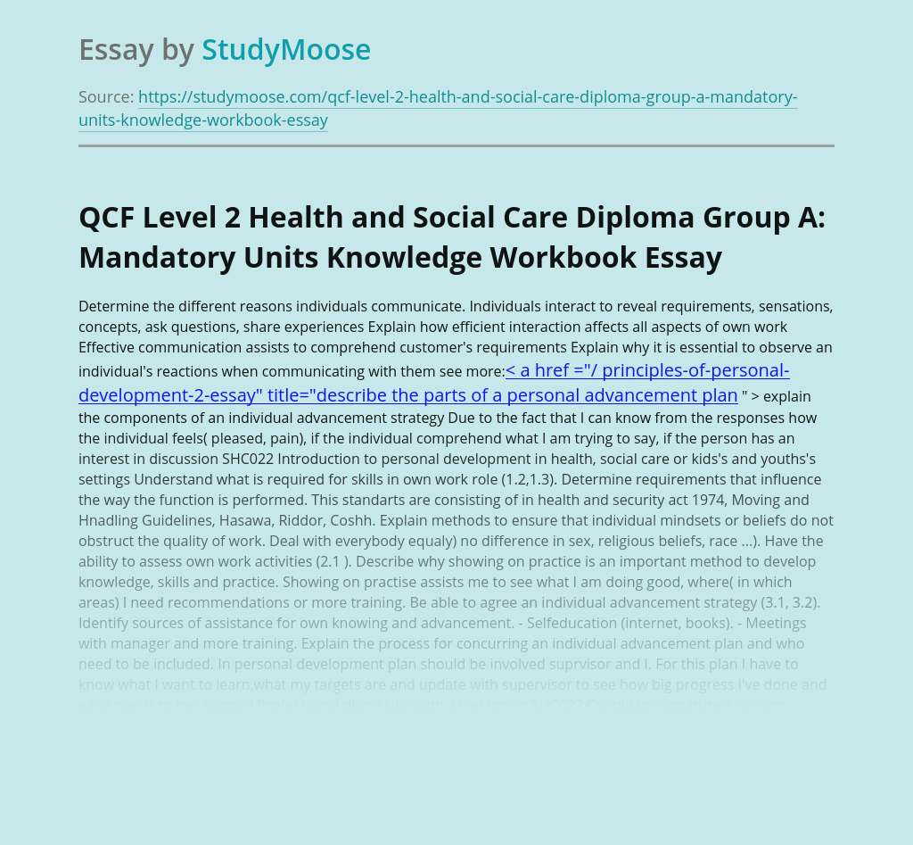 QCF Level 2 Health and Social Care Diploma Group A: Mandatory Units Knowledge Workbook
