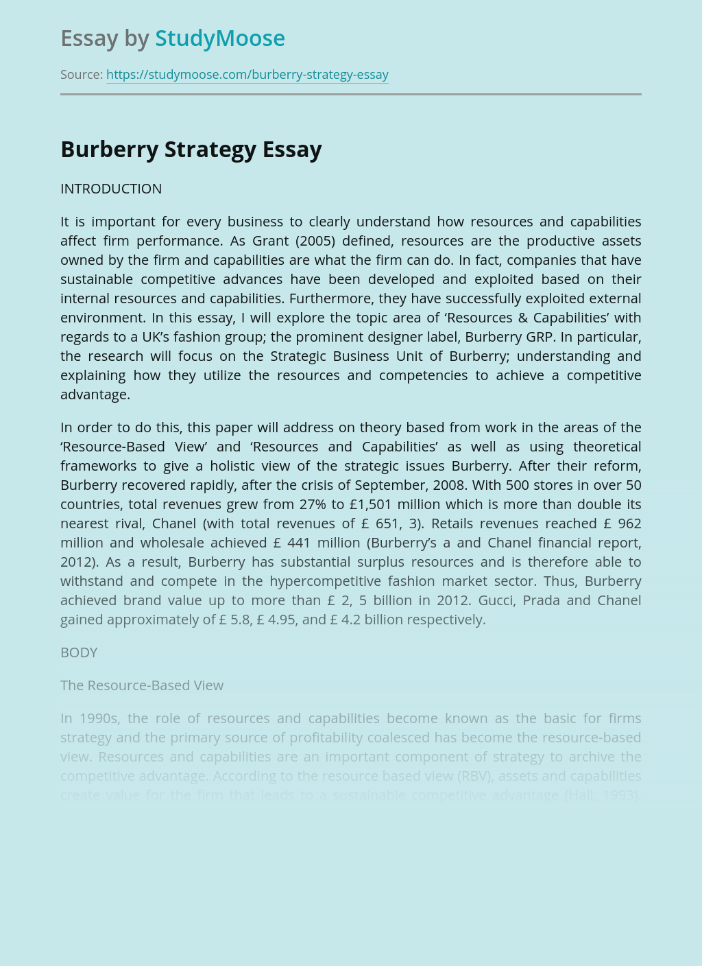 Burberry company Strategy