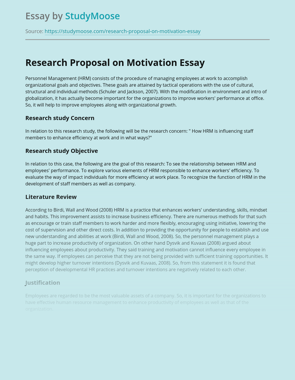 research proposal on motivation of employees