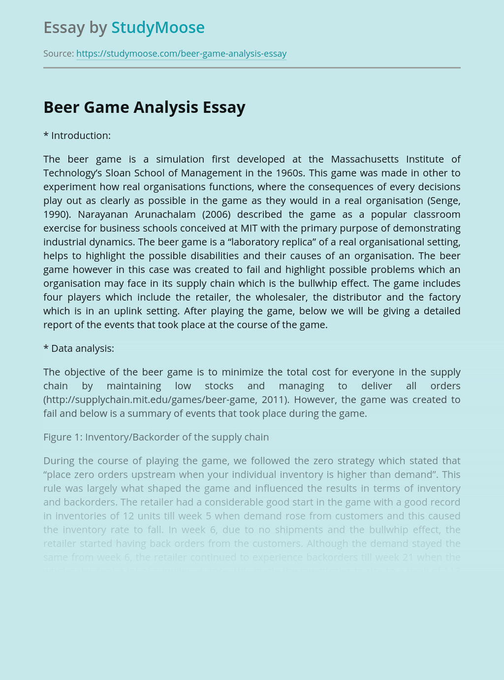 Analysis of Beer Game Management Strategy