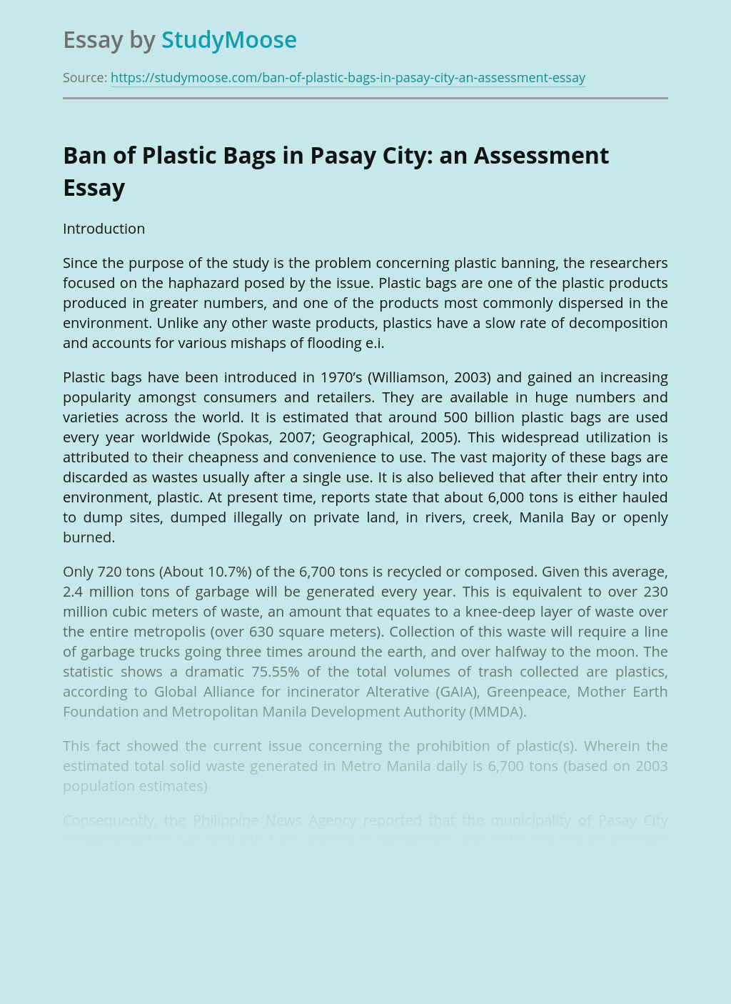 Ban of Plastic Bags in Pasay City: an Assessment