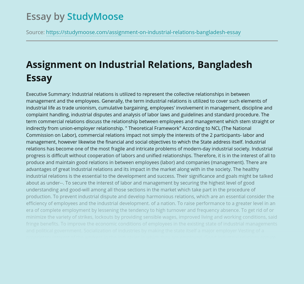 Assignment on Industrial Relations, Bangladesh
