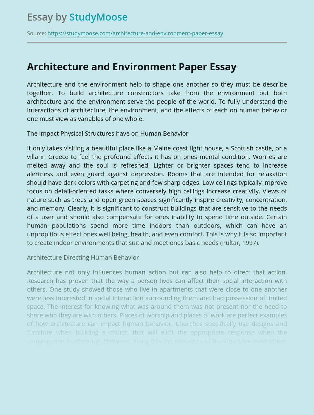 Architecture and Environment Paper