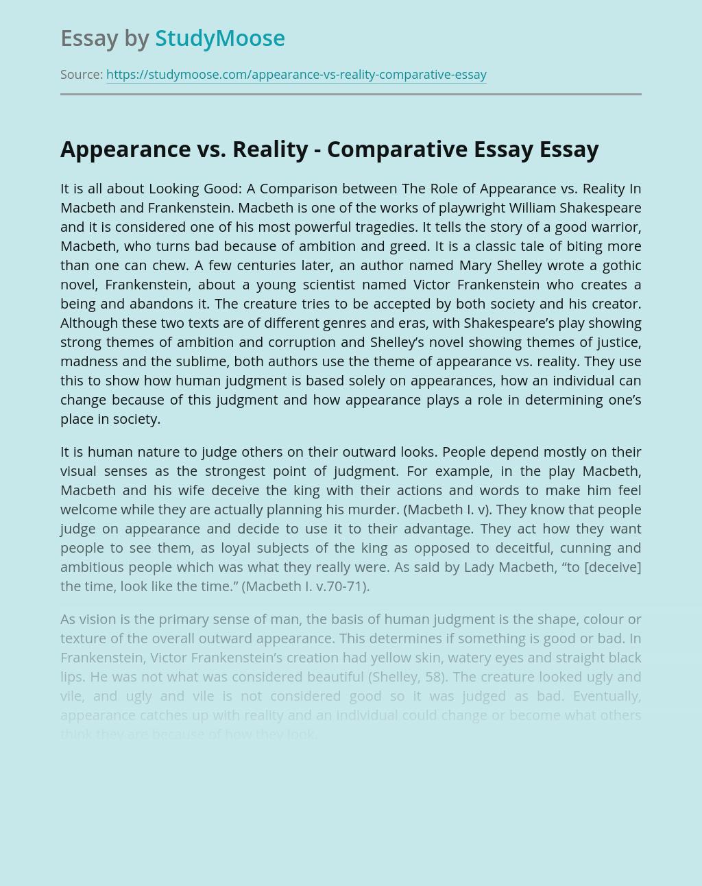 Appearance vs. Reality - Comparative Essay
