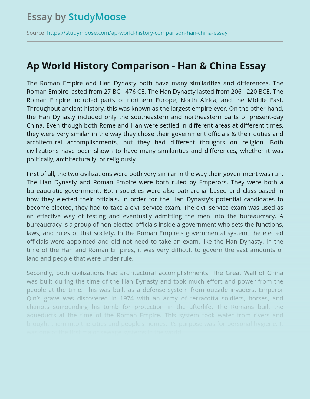 Ap World History Comparison - Han & China