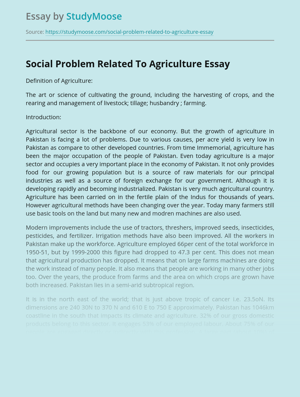 Social Problem Related To Agriculture