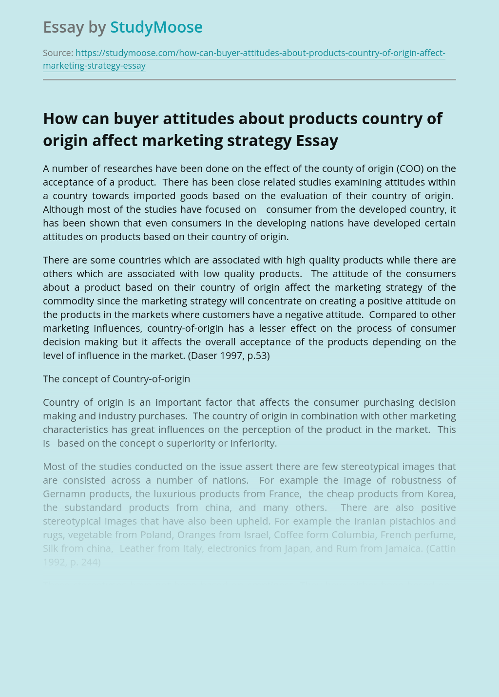 How can buyer attitudes about products country of origin affect marketing strategy