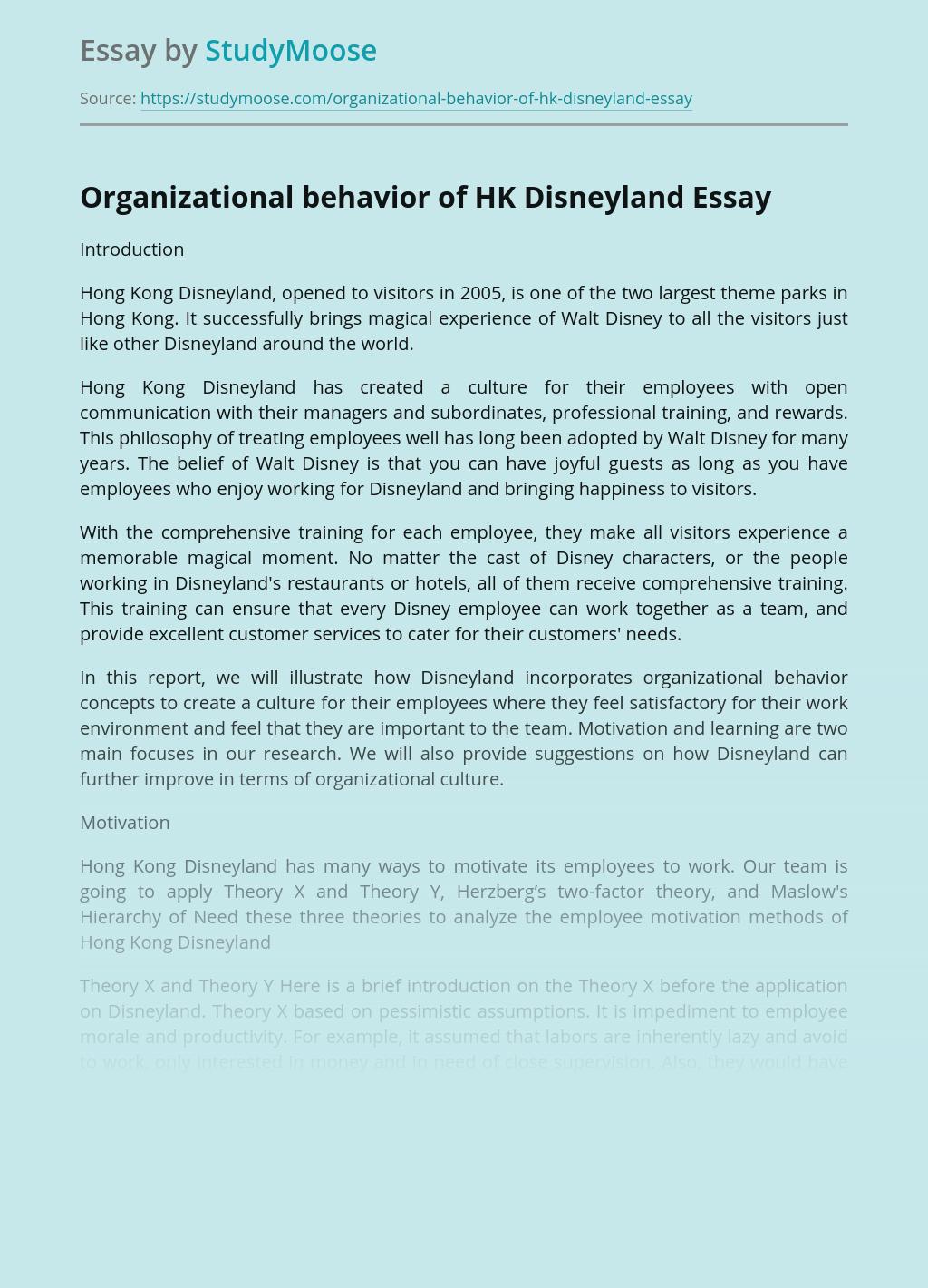 Organizational behavior of HK Disneyland