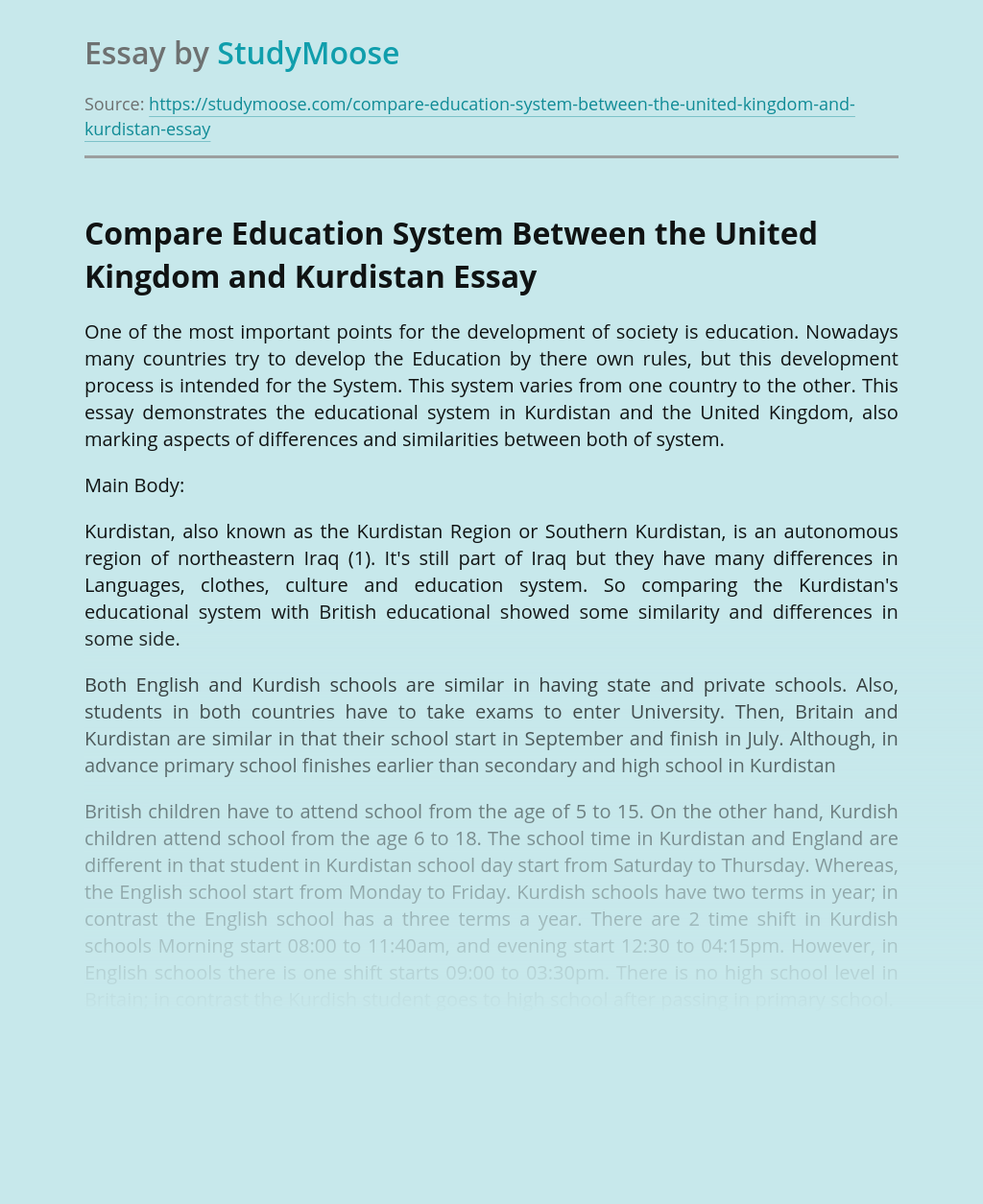 Compare Education System Between the United Kingdom and Kurdistan