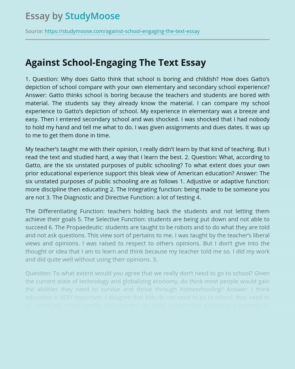 Against School-Engaging The Text