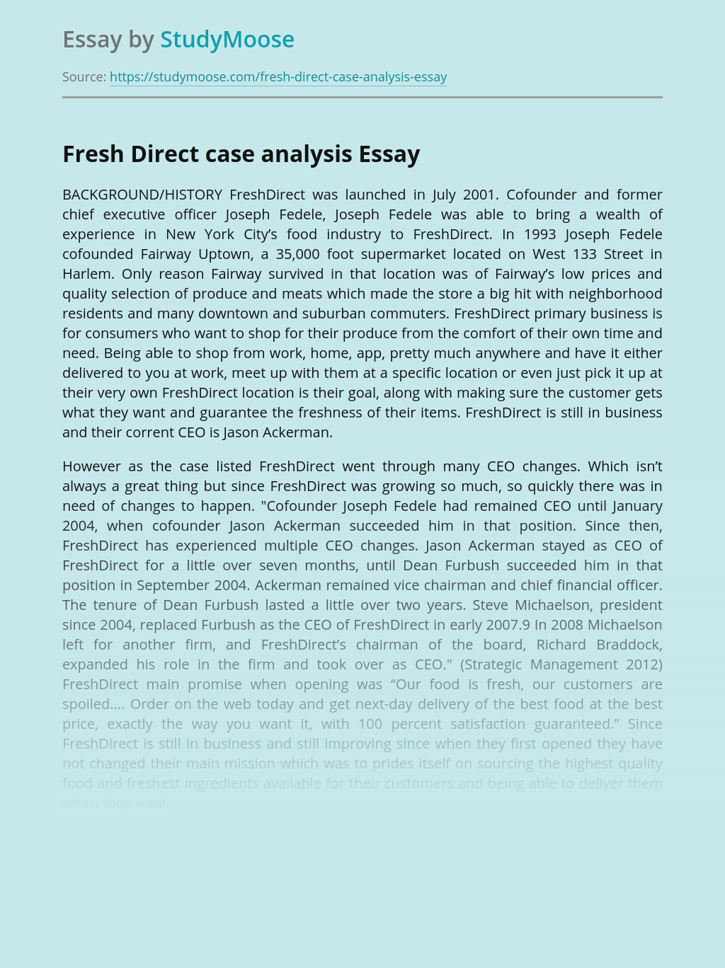 Business Success of FreshDirect Company
