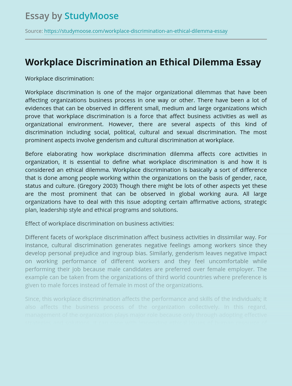 Workplace Discrimination an Ethical Dilemma
