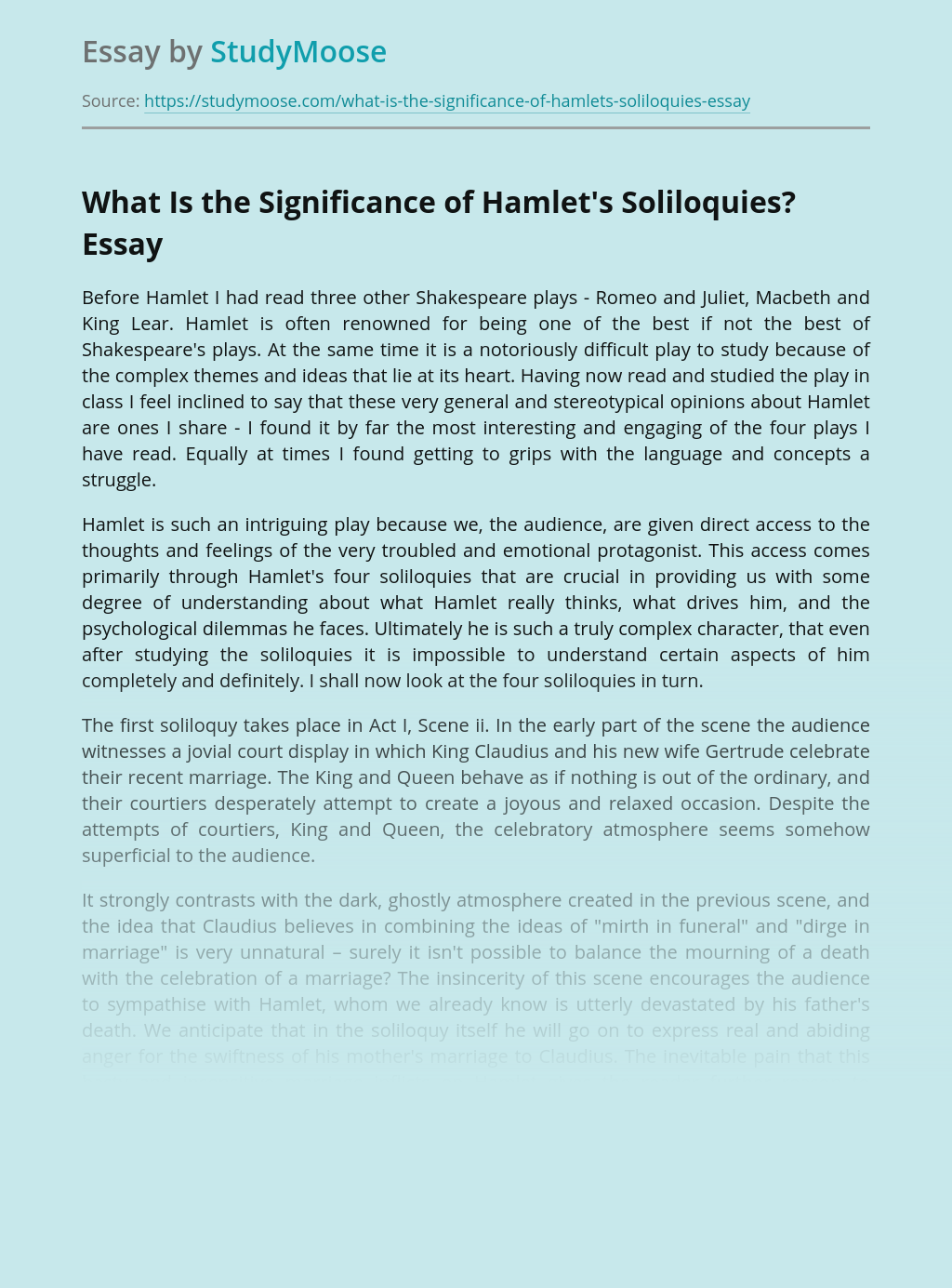 What Is the Significance of Hamlet's Soliloquies?