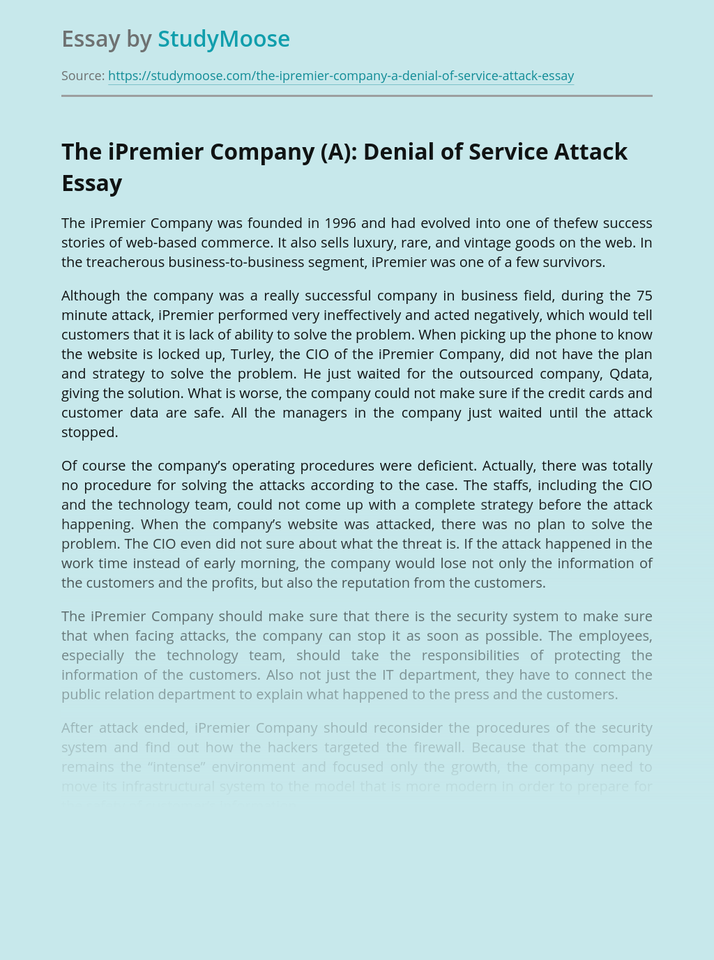 The iPremier Company (A): Denial of Service Attack
