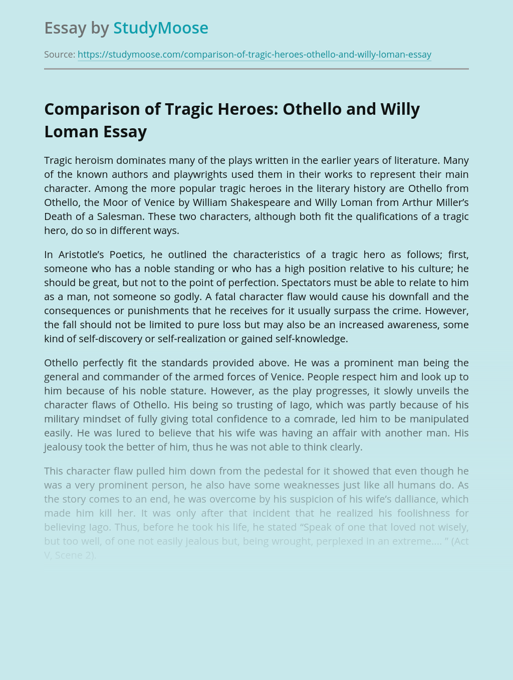 Comparison of Tragic Heroes: Othello and Willy Loman
