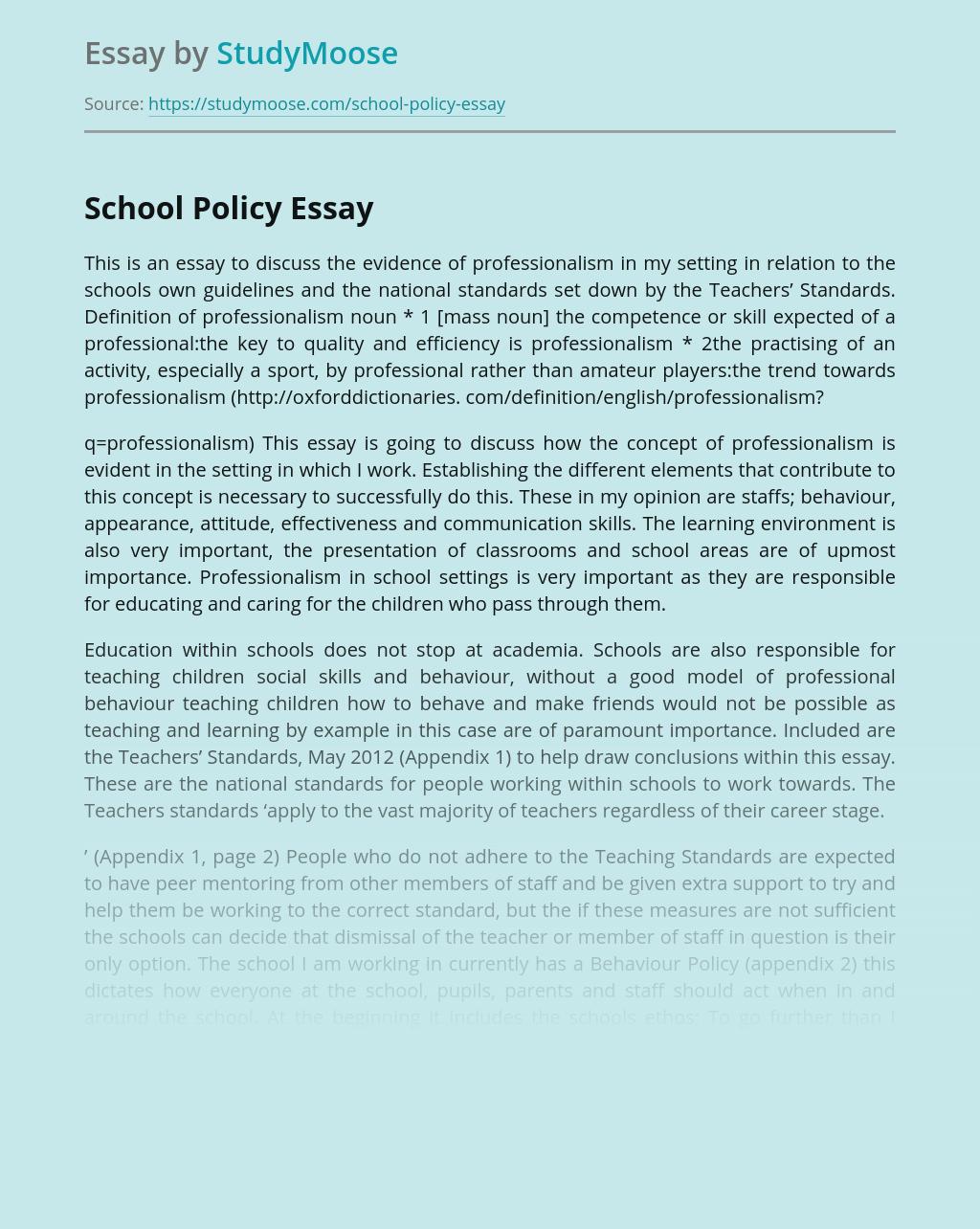 sample essay on school rules