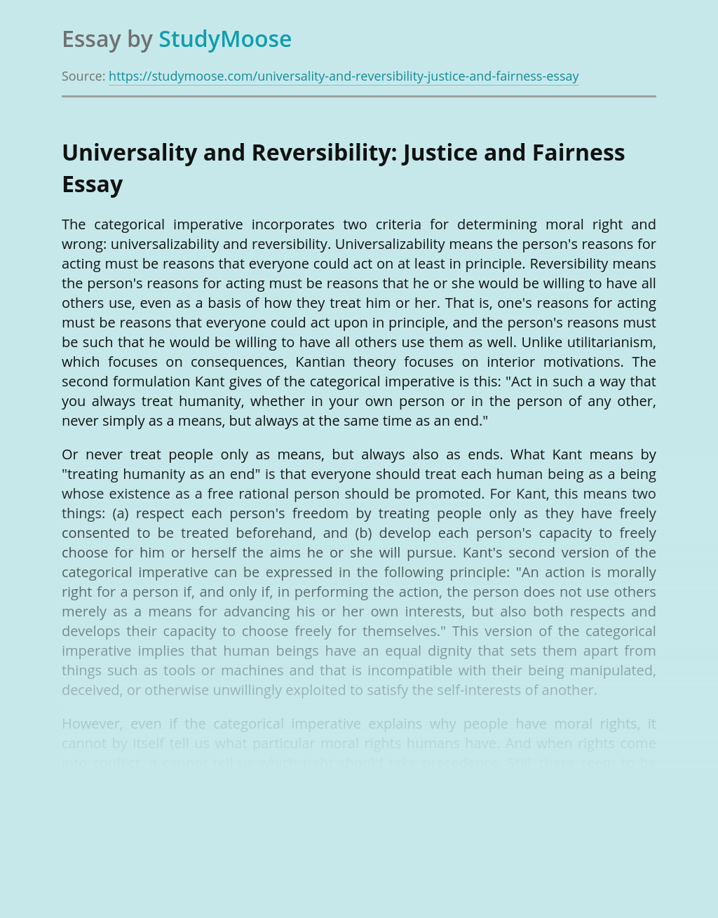 Universality and Reversibility: Justice and Fairness