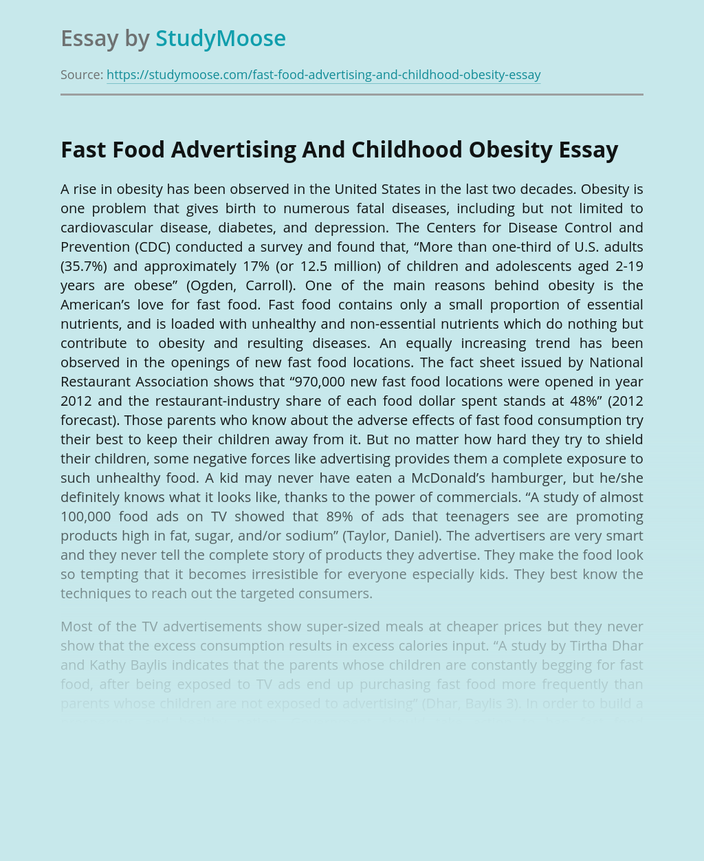 Fast Food Advertising And Childhood Obesity