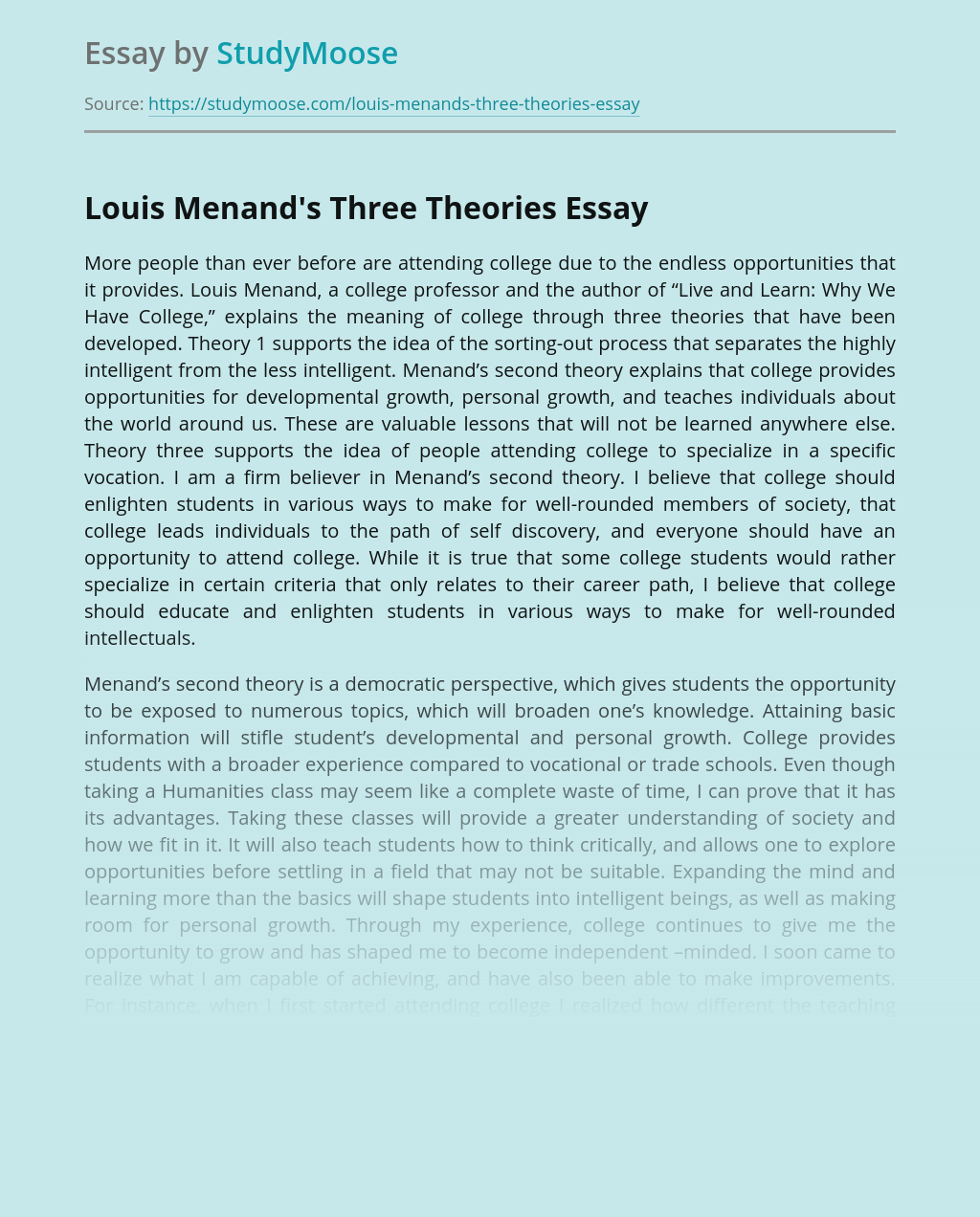 Louis Menand's Three Theories