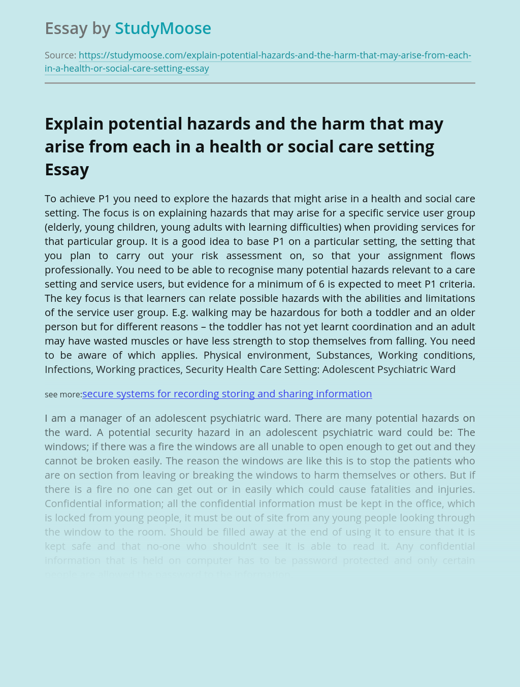 Explain Potential Hazards And The Harm That May Arise From Each In A Health Or Social Care Setting