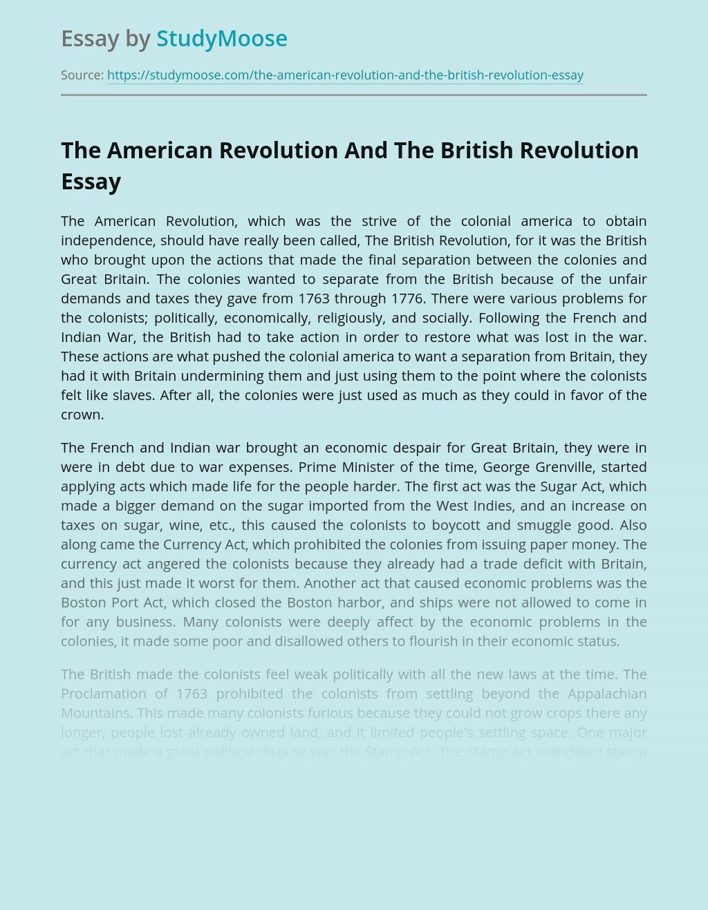 The American Revolution And The British Revolution