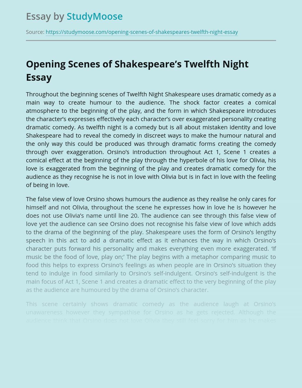 Opening Scenes of Shakespeare's Twelfth Night