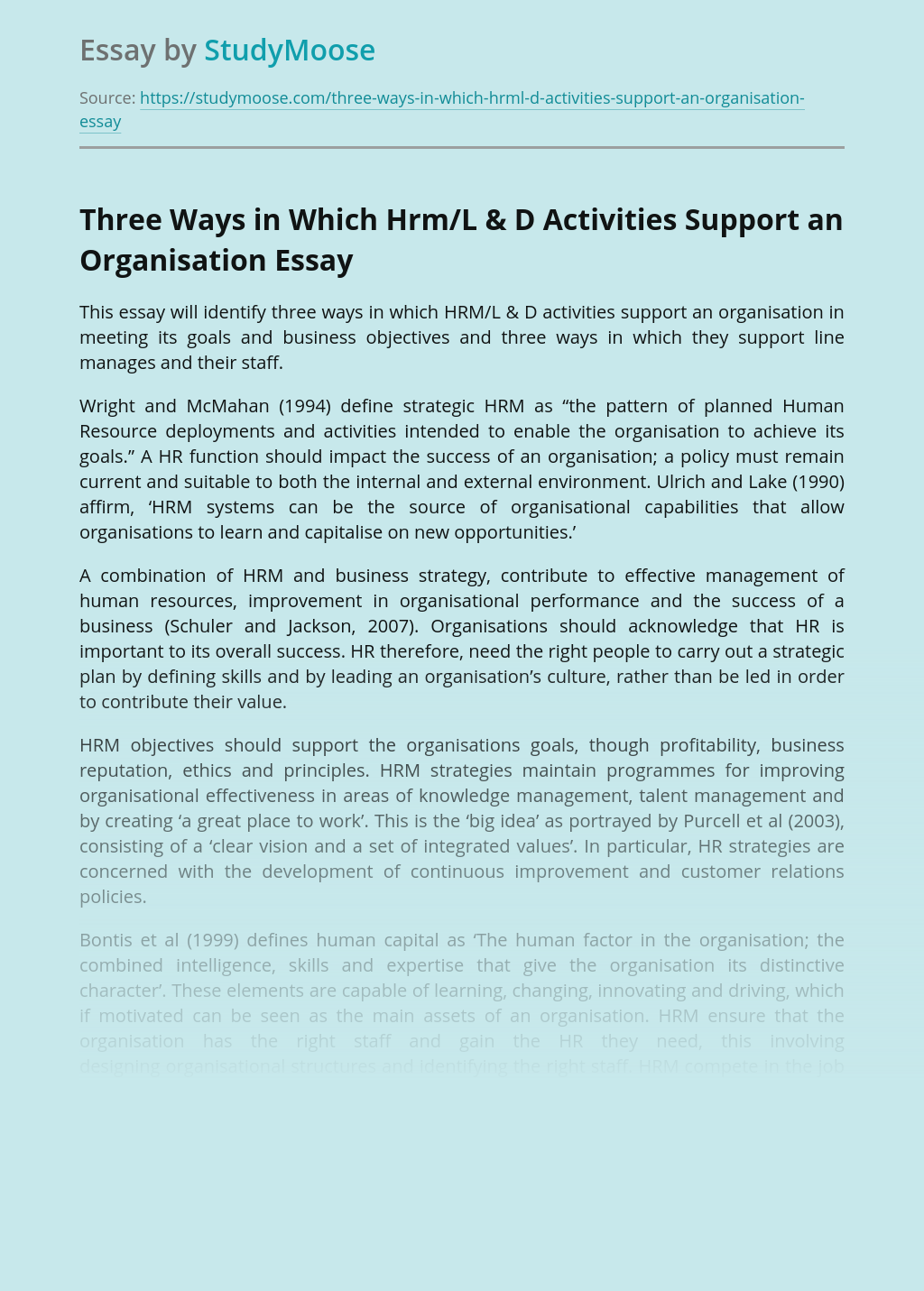 Support From Hrm/L & D Activities