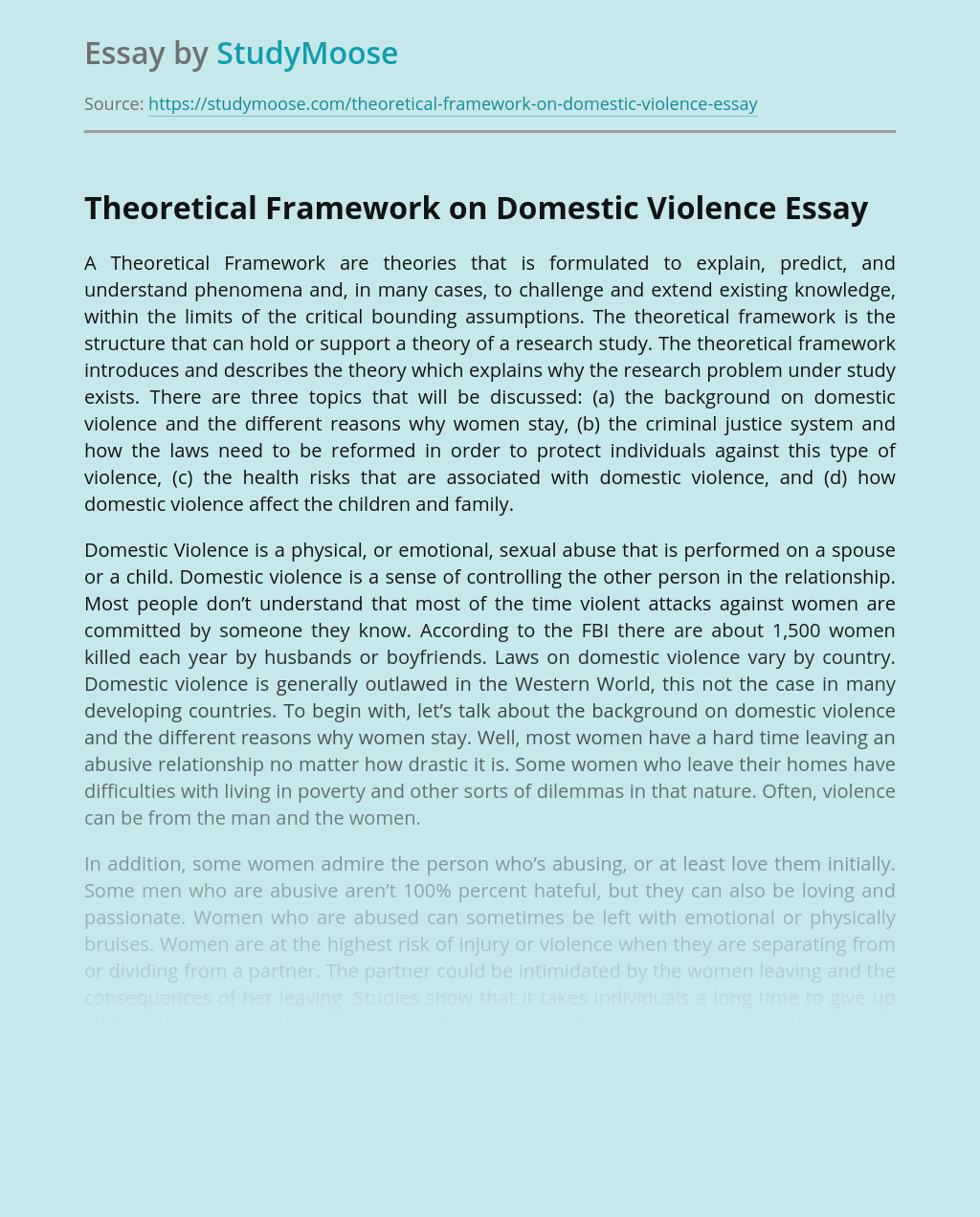 Theoretical Framework On Domestic Violence Free Essay Example
