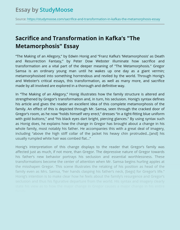 "Sacrifice and Transformation in Kafka's ""The Metamorphosis"""