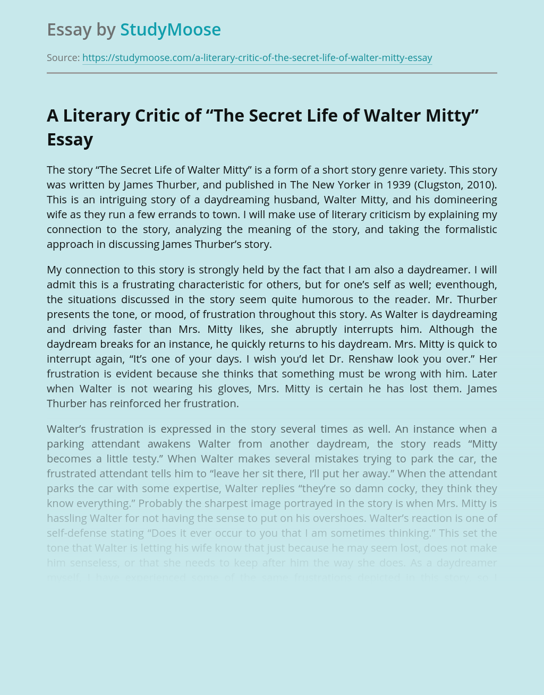 The Secret Life of Walter Mitty Literary Analysis