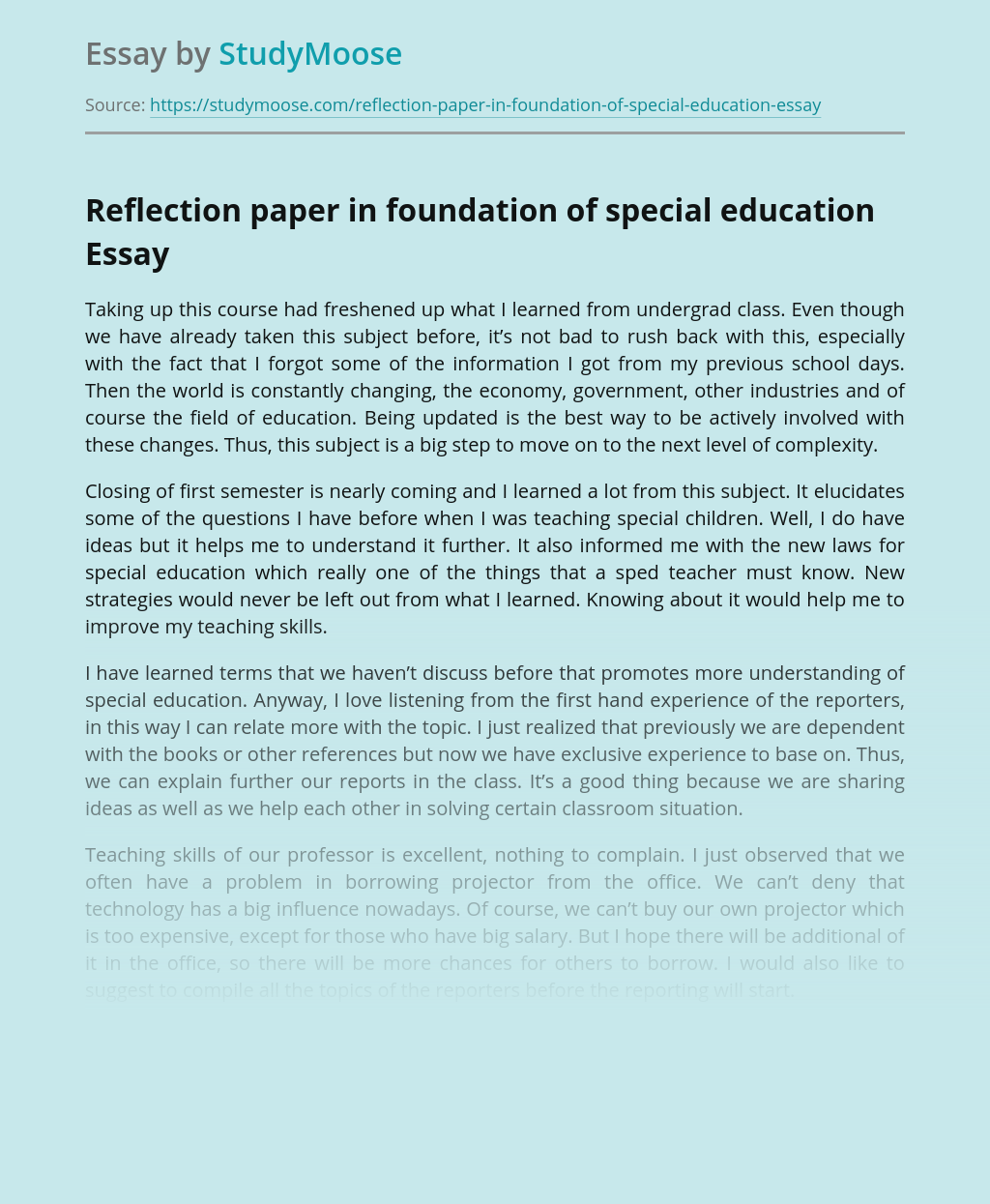 Reflection paper in foundation of special education