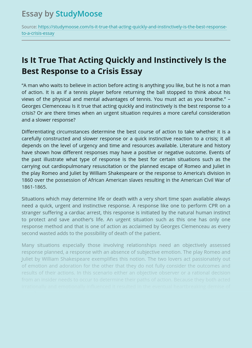 Is It True That Acting Quickly and Instinctively Is the Best Response to a Crisis