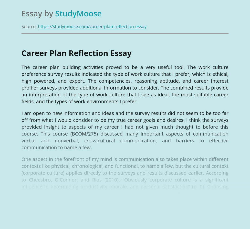 Career Plan Reflection