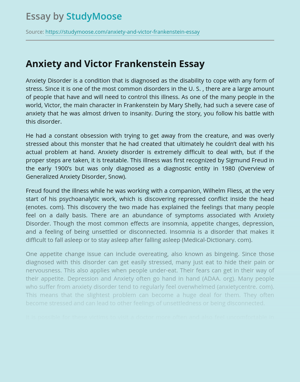 Anxiety and Victor Frankenstein