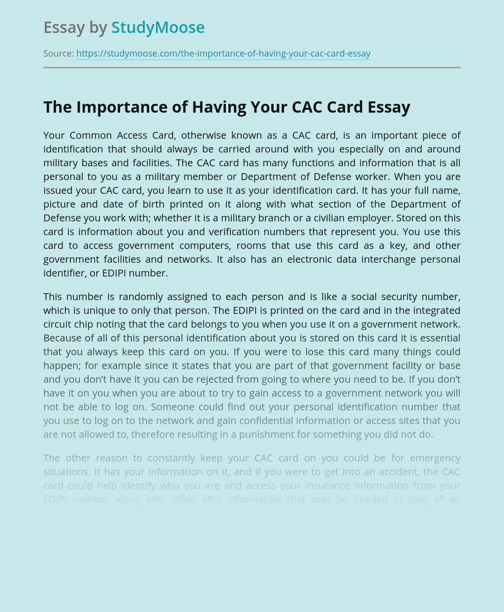 The Importance of Having Your CAC Card