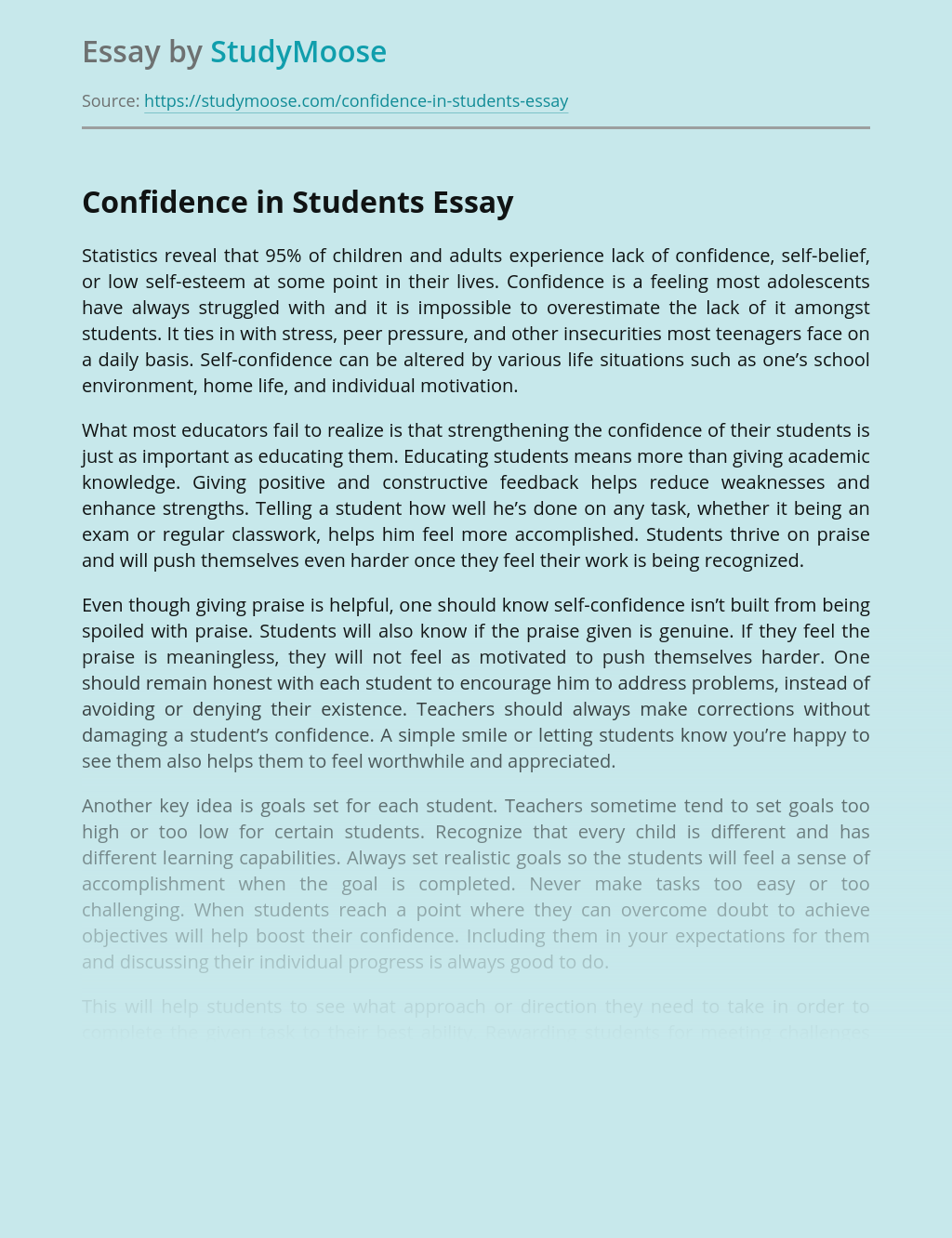 Confidence in Students