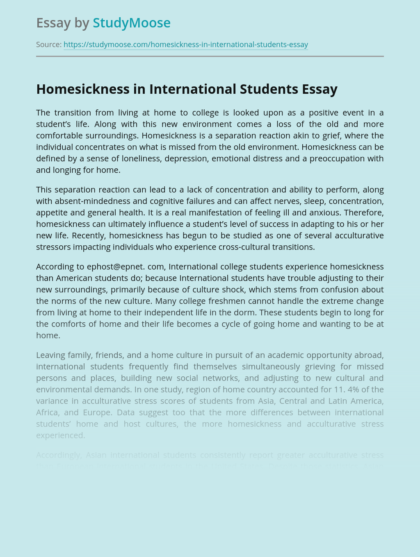 Homesickness in International Students