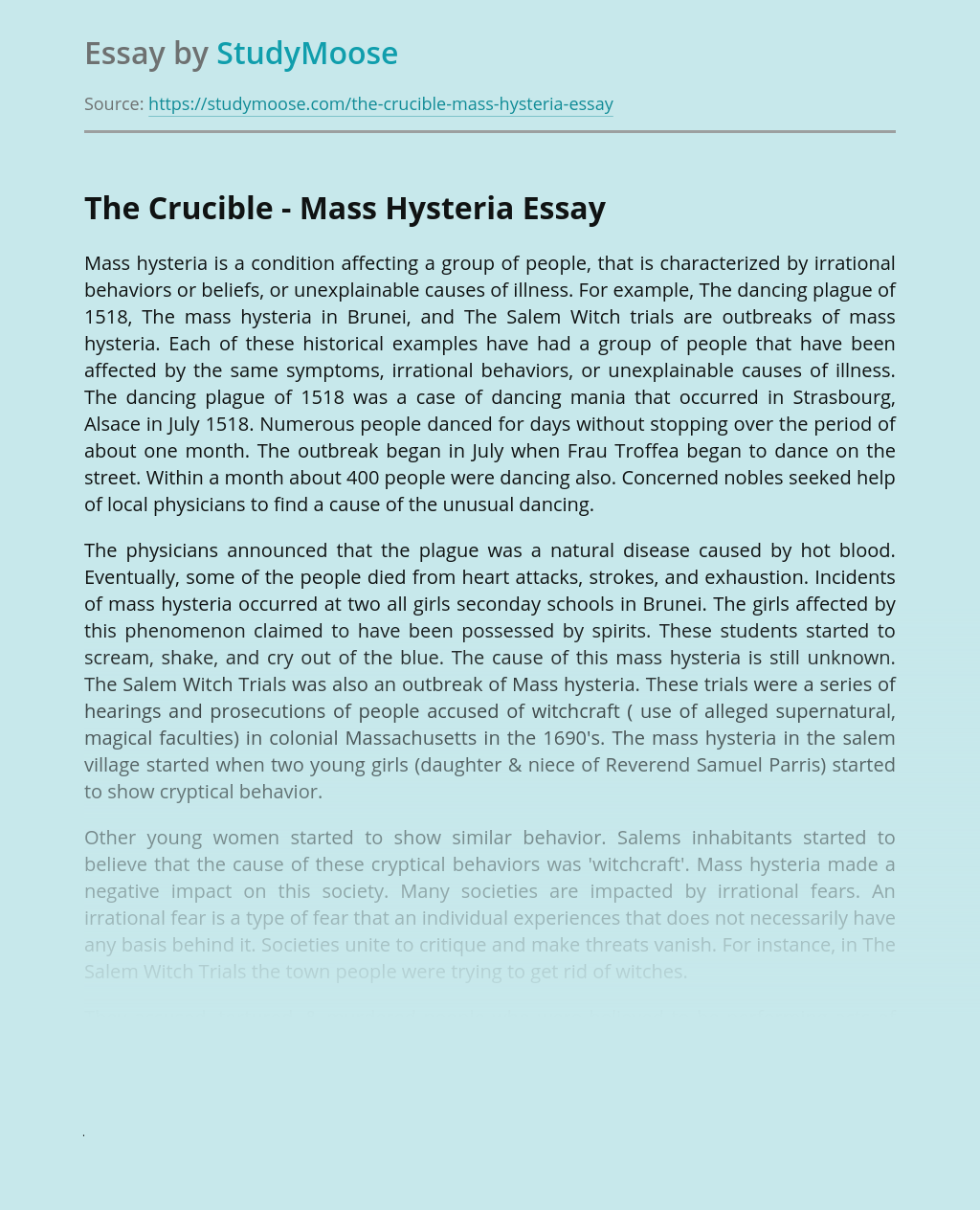 The Crucible - Mass Hysteria