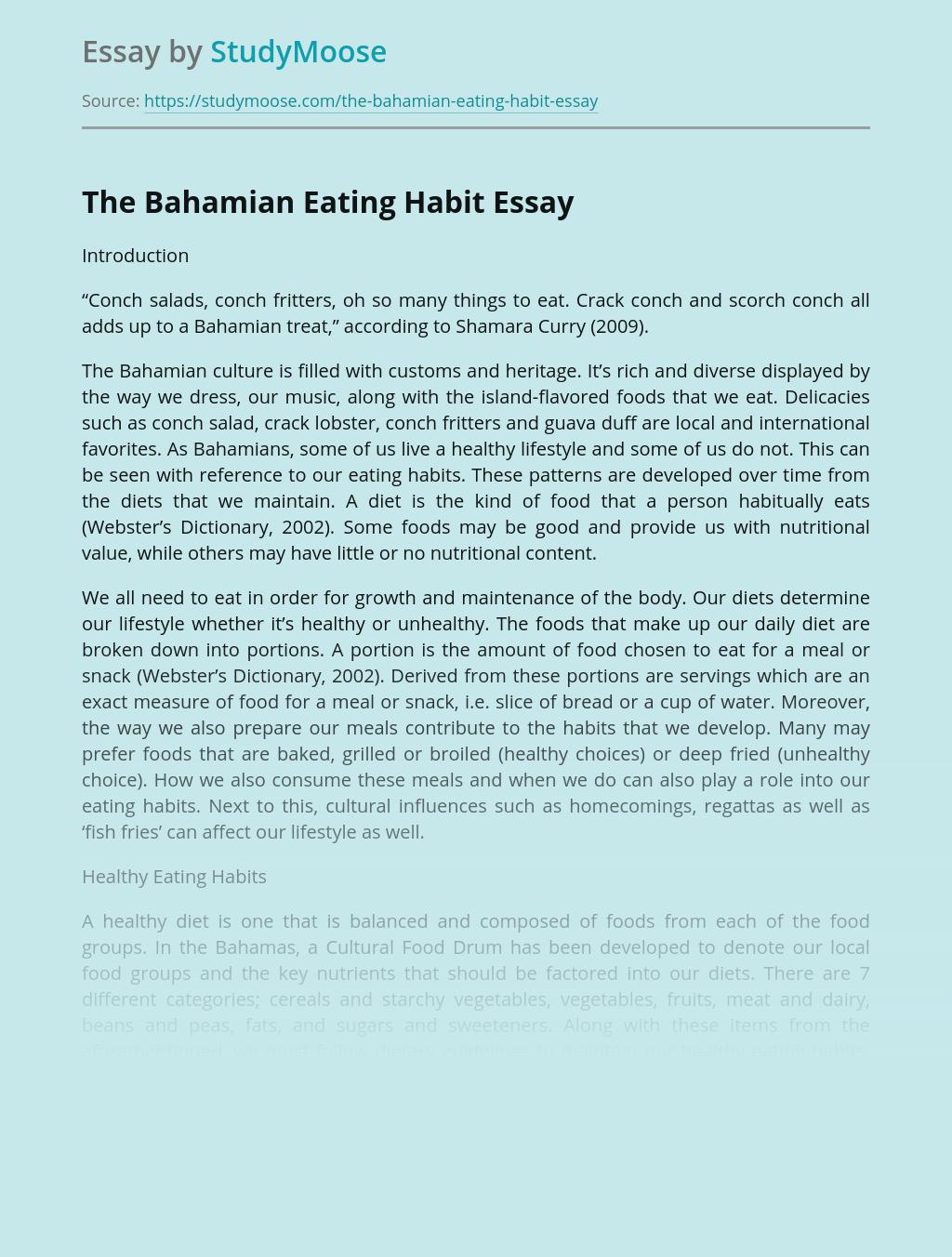 The Bahamian Eating Habit