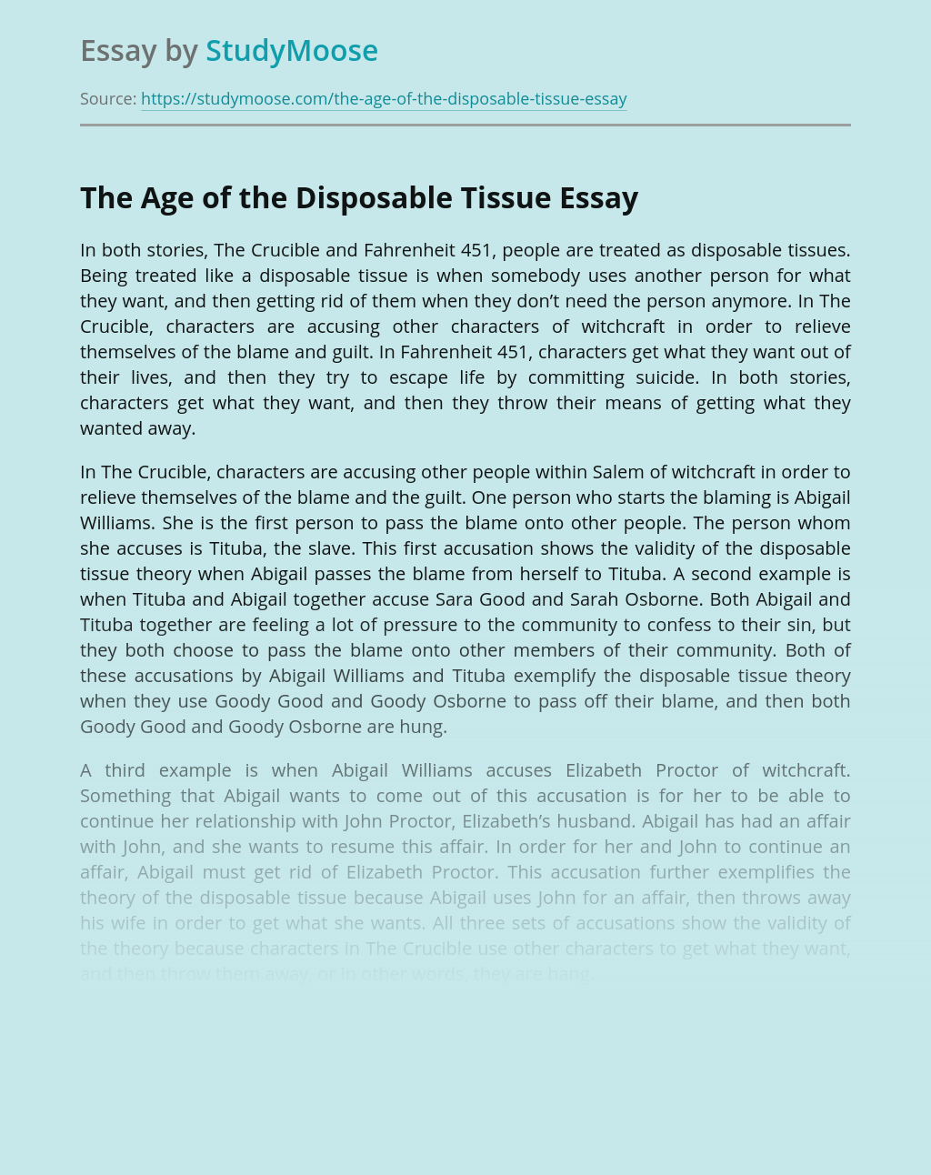 The Age of the Disposable Tissue