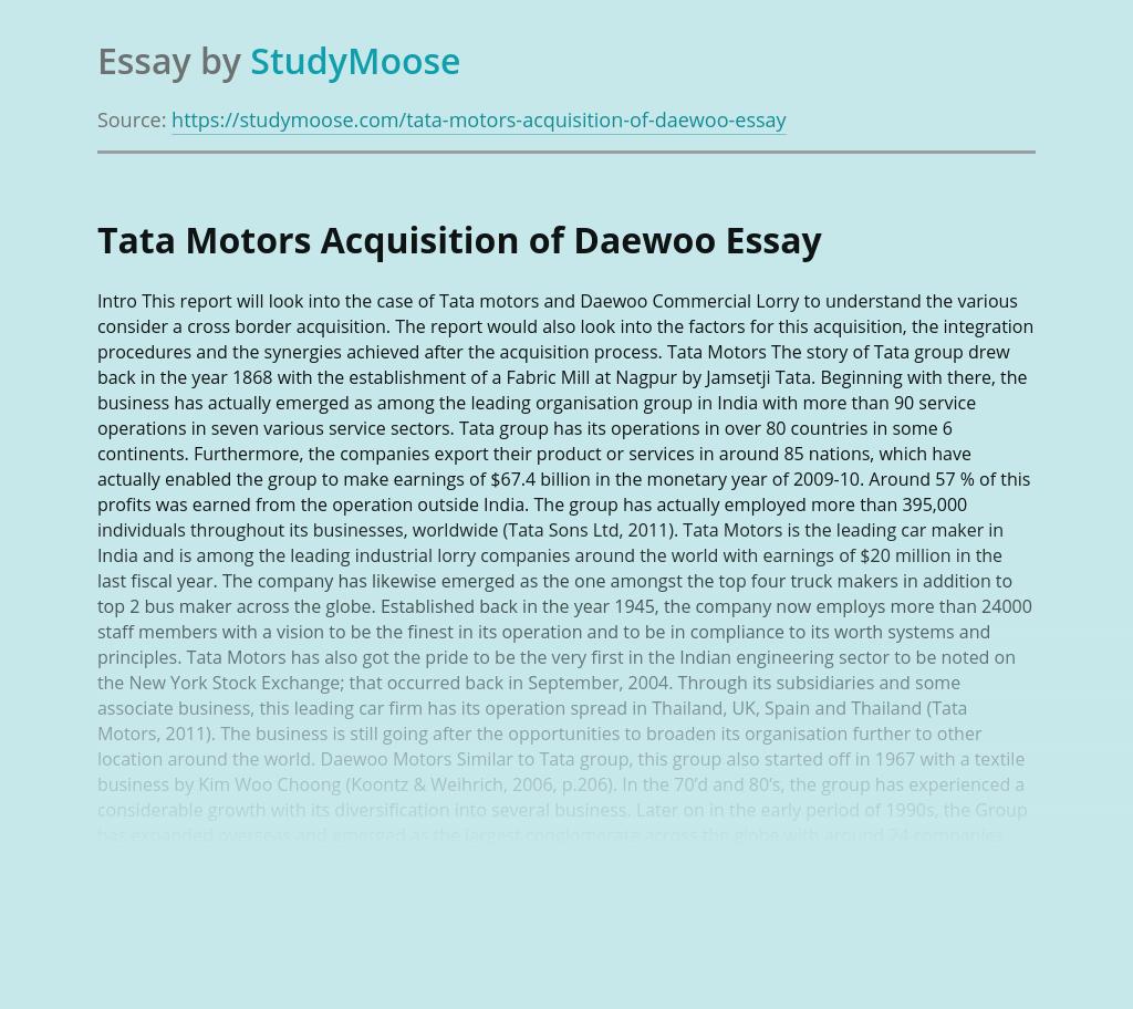 Tata Motors Acquisition of Daewoo