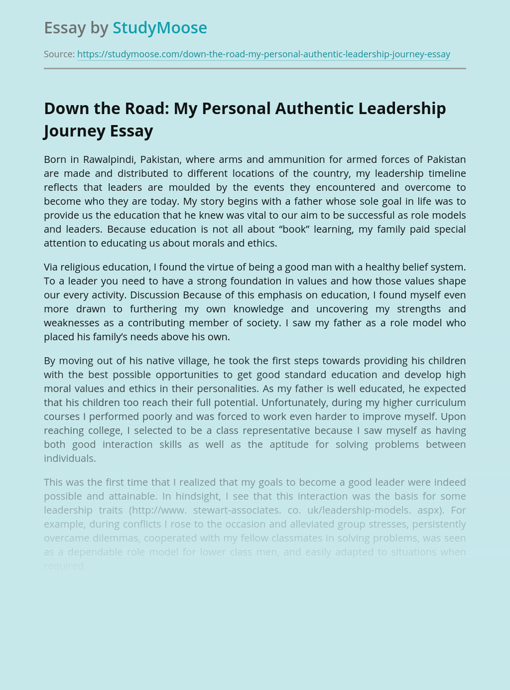 Down the Road: My Personal Authentic Leadership Journey