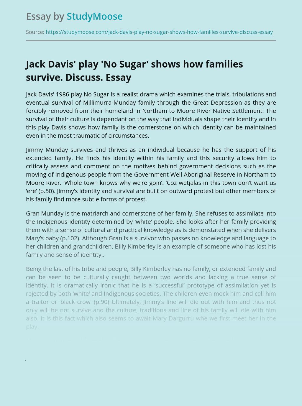 """No Sugar"" by Jack Davis Drama Analysis"