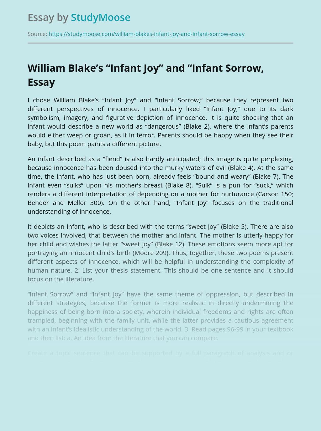Analysis of Infant Joy and Infant Sorrow Poems