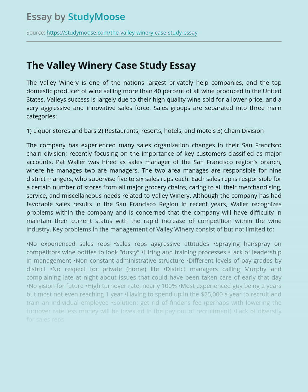 The Valley Winery Case Study