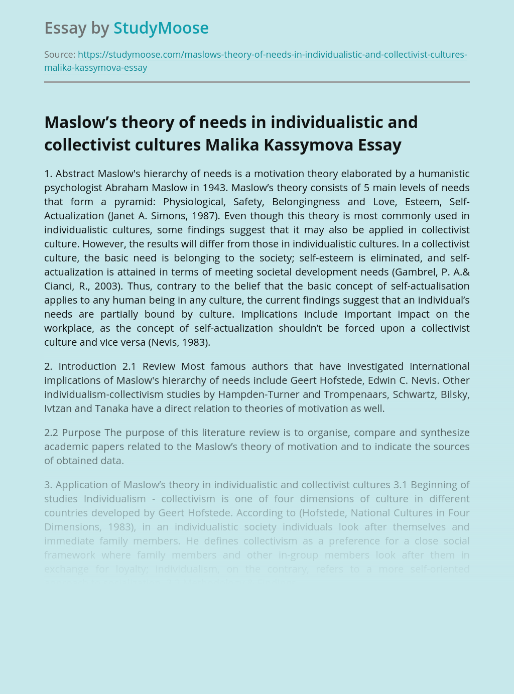 Maslow's theory of needs in individualistic and collectivist cultures Malika Kassymova